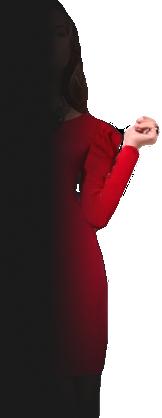 chica con vestido rojo
