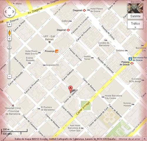 Localizacion restaurante La Isla en mapa de Barcelona