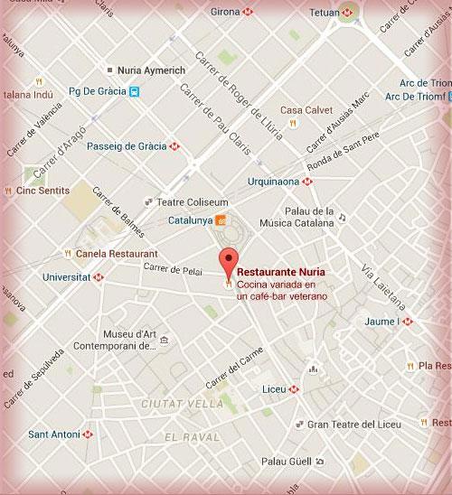Localizacion restaurante Nuria en mapa de Barcelona via google maps