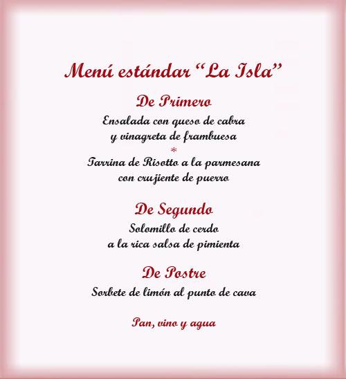 Menu restaurante La Isla