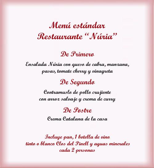 Menu restaurante Nuria