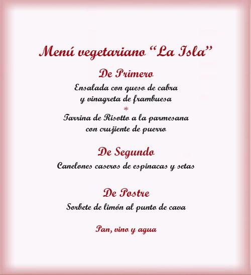 Menu vegetariano restaurante La Isla