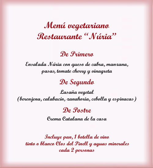 Menu vegetariano restaurante Nuria